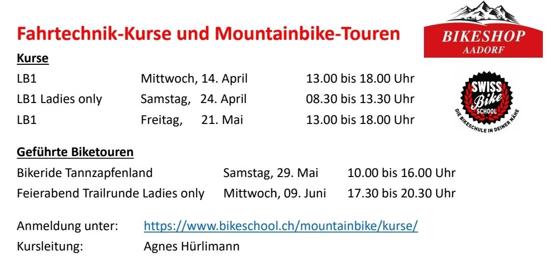 Fahrtechnik-Kurse und Mountainbike-Touren